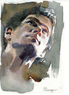 Watercolor Face, Watercolor Artwork, Gouache Painting, Watercolor Portraits, Watercolor Landscape, Watercolor Illustration, Painting & Drawing, Watercolor Trees, Painting People