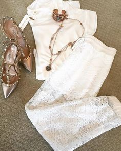 How perfect are these lace pants for this beautiful weather?! ☀️ Paired with our white T and rose gold VSA San Benito Cuff and Necklace! #vsa #vsadesigns #virginsaintsandangels #whichoneareyou #rosegold #jotd #ootd #fleurtboutique #rosegold