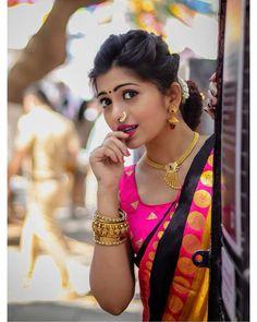 Image may contain: 1 person, closeup Bridal Hairstyle Indian Wedding, Indian Wedding Bride, Indian Wedding Photos, Wedding Girl, Marathi Wedding, Indian Bridal, Indian Bride Poses, Indian Wedding Couple Photography, Bridal Photography