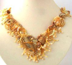Freeform peyote beaded necklace with jasper stone Delicious colors Cream Honey Golden