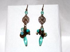 Handcrafted Bronze Cluster Dangle Earrings by tkmJewelryDesign, $25.00