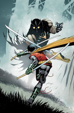 "The cover to ""Batman & Robin #9"" by artist Patrick Gleason. Damian Wayne (Robin) alone against a Talon assassin sent from the ""Court of Owls""."