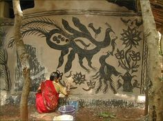 Khovar Tribal Art (India) Khovar - Traditionally, tribals artists and householders in Jharkhand have been using natural colours to make Sohrai and Khovar paintings on walls & caves, but more recently they have taken to paper. The painting is much like the famous Madhubani paintings of Bihar, now also found on fabrics and ceramics. The Sohrai form is made during Diwali and harvest times while khovar [Kohbar?] is made for weddings.
