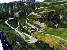 Grimsel Pass Grimsel passes meetThe Furka is in the foreground and the Grimsel is Roads And Streets, Dangerous Roads, Road Trip Europe, Beautiful Roads, Winding Road, Scenery, Places To Visit, Country Roads, Vacation
