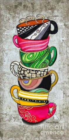 Colorful Coffee Cups Mugs Hot Cuppa Stacked II By Romi And Megan by Megan Duncanson Colorful Coffee Cups Mugs Hot Cuppa Stacked II By Romi And Megan Painting - Megan Duncanson Tee Kunst, Coffee Cup Art, Coffee Coffee, Coffee Doodle, Coffee Break, Coffee Maker, Pintura Country, Tea Art, I Love Coffee