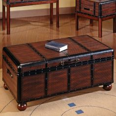 Steve Silver Pacific Trunk Coffee Table by Steve Silver. $336.00. Opens for lots of interior storage. Trunk-style coffee table. Black rounded corners. Constructed of hardwood solids. Dark cherry wood finish. We envied people who used old steamer trunks as coffee tables. We thought it was stylish and cool. Now you can get that casual playfulness without all the dings and scratches with the Pacific Trunk Coffee Table. Rich dark cherry wood gleams from underneath riveted...