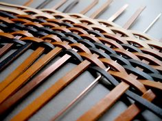 Partially Woven Copper and Leather Strips
