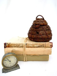 old bee skep.bee house.straw.primitive.aviary.collectible.unique.tessiemay vintage by tessiemay on Etsy