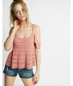 Flutter Sleeve Crochet Sweater Pink Women's X Small Crochet Tank Tops, Crochet Summer Tops, Crochet Shirt, Knit Crochet, Crochet Clothes, Diy Clothes, Clothes For Women, Summer Clothes, Crochet Woman
