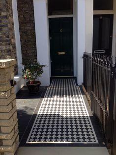 London Front Garden victorian mosaic tile path yellow brick wall and rail Victorian Mosaic Tile, Front Path, Small Front Gardens, London Garden, Victorian Terrace, Rest Of The World, Brick Wall, Garden Design, Restoration