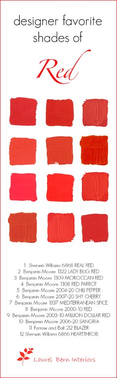 Designers 12 Favorite Shades of Red Paint- laurel home   check out my list of tried-and-true shades of red paint. Nine of them are by #benjaminmoore