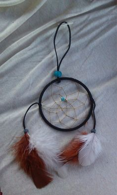 Turquoise Beaded Feather Dreamcatcher by FCCNativeCrafts on Etsy $15.00