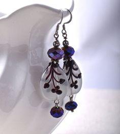 Silver Earrings with Metallic Violet Tulip Purple Iris Glass and Floral Lampwork Teardrop Beads Handmade Earrings #etsy  #design