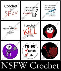 Pinback Buttons - Darkside of Crochet:Pinback Buttons,Slipped Stitch Studios:Slipped Stitch Studios Crochet Lion, Knit Crochet, Crochet Humor, Funny Crochet, Slip Stitch, Stitch Markers, Pinback Buttons, Crochet Hooks, Hand Knitting