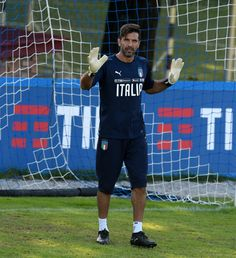 Gianluigi Buffon of Italy reacts during a training session at Italy club's training ground at Coverciano on October 4, 2017 in Florence, Italy.