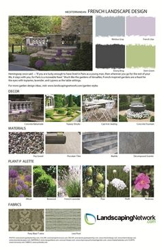 Decor, plants, and materials for a French-themed landscape. For a high-res, printable version of this stylesheet visit: http://www.landscapingnetwork.com/garden-styles/FrenchLandscapeDesign.pdf