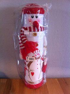 wijnkoker sneeuwpop incl fles wijn