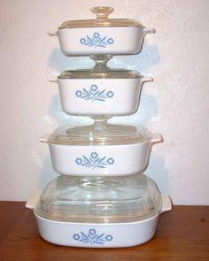 corningware | CorningWare Cornflower Blue Cookware 8-pc Set - Vintage - Corning Ware ...