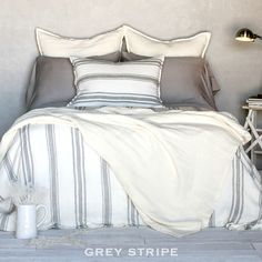 Pom Pom at Home Jackson Ticking Stripe Duvet Cover | FrenchGardenHouse.com