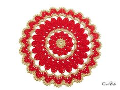Christmas crochet doily Gold and Red Christmas by CreArtebyPatty