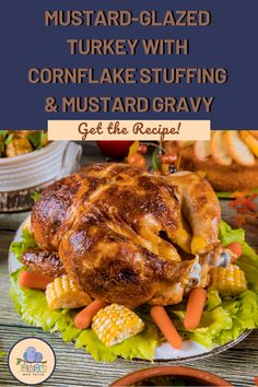 Mustard-Glazed Turkey with Cornflake Stuffing and Mustard Gravy isn't your ordinary turkey . it's tangy, unique and full of flavor! Side Dish Recipes, Healthy Dinner Recipes, Thanksgiving Recipes, Holiday Recipes, Food Dishes, Main Dishes, Turkey Pan, Mustard Recipe, Turkey Glaze