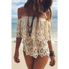 White Off Shoulder Crochet Crop Top#116265