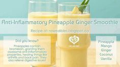 Anti-Inflammatory Pineapple Ginger Smoothie recipe ❥➥❥ Pineapples contain #bromelain enzyme which is a powerful Anti-inflammatory. Ginger contains very powerful anti-inflammatory compounds called Gingerols. These substances are believed to explain why so many people with #osteoarthritis or #rheumatoid arthritis experience reductions in their pain levels and improvements in their mobility when they consume ginger regularly  Ingredients: 2 cups.…