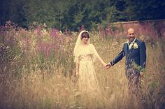 Image By Steve Longbottom - A 70s Inspired Wedding With A Pastel Colour Scheme And Bride In Vintage Lace Dress Found On Ebay And Groom In Navy Three Piece Suit By Paul Smith
