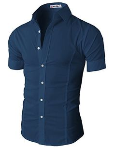 H2H Mens Chic Casual/Dress Basic Designed Button Closure Slim Fit Shirts DARKBLUE US S/Asia M (JASK36)