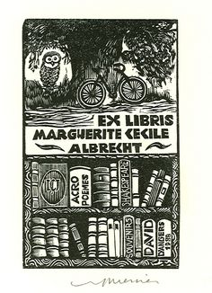 Wood engraved ex libris by Jocelyn Mercier for Marguerite Cecile Albrecht, 1996