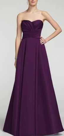 Davids Bridal Strapless Satin Pleated Bodice Ball Gown Style F15554 in Plum - $159.00
