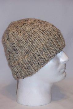 Warm Winter Beanie Hat Oatmeal Color Mens Hat by lousknittingroom