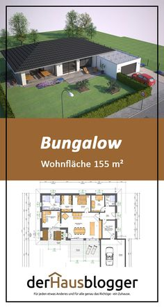 Bungalow Wohnflaeche 155 I have set up this bungalow planning together with a couple who wanted t House Layout Plans, House Layouts, Small House Plans, Bungalows, Bungalow House Plans, House Floor Plans, Interior Paint Colors For Living Room, Sims House, Future House