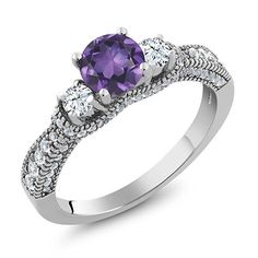 1.97 Ct Round Purple Amethyst White Topaz 925 Sterling Silver Women's Ring #Unbranded #SolitairewithAccents #Birthday