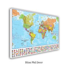 Push Pin World Map, Large World Map, Push Pin Map for Home or Office Decoration, Framed World Map, Ready to Hang, Stretched, World Map by ECreativeArt on Etsy https://www.etsy.com/listing/479190388/push-pin-world-map-large-world-map-push