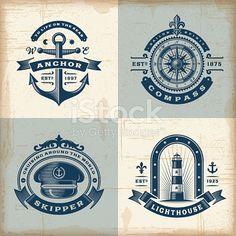 Set of Vintage Nautical Labels - Decorative Symbols DecorativeYou can find Vintage nautical and more on our website.Set of Vintage Nautical Labels - Decorative Symbols Decorative Nautical Logo, Nautical Compass, Nautical Design, Vintage Nautical, Nautical Art, Nautical Prints, Nautical Fashion, Nautical Wedding, Logo Nautique