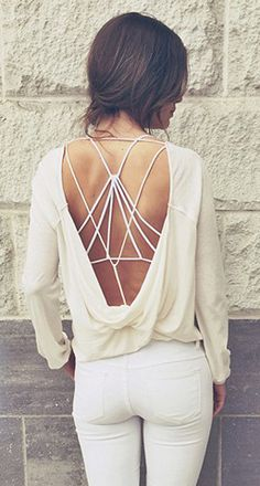Backless top with strappy bra