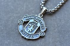Manchester United Football silver pendant, England Great Britain United Kingdom jewelry, FC symbol necklace fan, red devil, men's gift