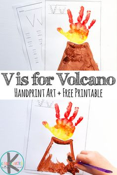 Letter V Worksheets and V is for Volcano handprint art - perfect for toddler, preschool, and kindergarten age kids Preschool Projects, Preschool Letters, Letter Activities, Preschool Lessons, Daycare Crafts, Preschool Activities, Luau Crafts Preschool, Activities For 4 Year Olds, Volcano Activities
