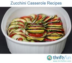 This page contains zucchini casserole recipes. Zucchini is a versatile summer vegetable that is used as a main ingredient in many casserole recipes.