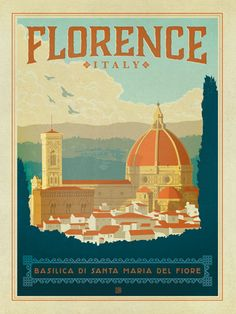Italy: Florence - We were inspired by vintage travel prints from the Golden Age of Poster Design (a glorious period spanning the late-1800s to the mid-1900s.) So we set out to create a collection of brand new international prints with a bold and adventurous feel. This print celebrates the timeless beauty of Florence, Italy.