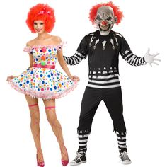 It's a midway nightmare! Some clowns bring smiles, these clowns bring frowns. This couples costume includes razored skull suit with clown mask and ruby red hair, as well as polka-dot ruffle dress with button puffs, perfectly primed for sinister blood stains or ghoulish makeup. Don't forget to check out the matching accessories below! Scary Clown Halloween Costume, Scary Couples Costumes, Scary Clowns, Creepy, Couple Costumes, Ruby Red Hair, Clown Mask, Real Monsters, Ruffle Dress