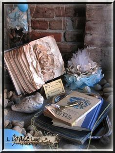 Window Display for a book store. Close up of one corner and a Rose Book Made from a Hard Back Book and a Tissue Flower. #Windowdisplay #book #Rose