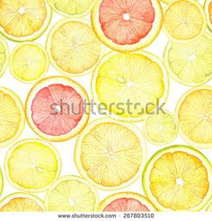 Watercolor pattern with slices of lemon, orange and grapefruit.