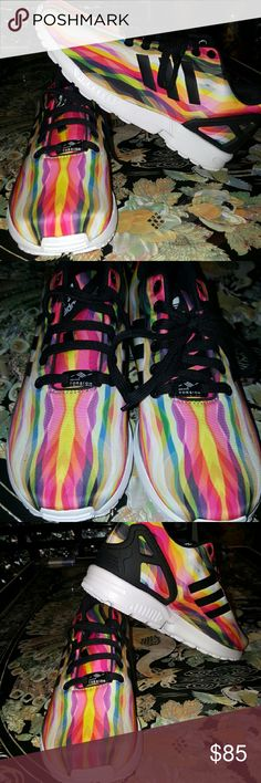 NIB Adidas ZX Flux size 8.5 women New never worn Adidas ZX Flux in a multicolored print. Size 8.5 women. No lid for box. Please use the offer button instead of comments for your offers.  Thank you. Adidas  Shoes Athletic Shoes