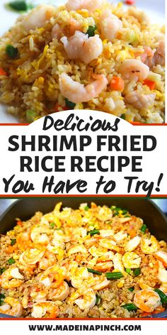 The best shrimp fried rice recipe for an easy healthy weeknight dinner! This one pan meal is a 30 minute recipe that will quickly become a family favorite dinner! #shrimpfriedrice #betterthantakeout #chinesefood #dinnerrecipes #easy #delicious Healthy Eating Recipes, Healthy Cooking, Delicious Recipes, Cooking Tips, Healthy Food, Rice Recipes, Seafood Recipes, Dinner Recipes, Easy Recipes