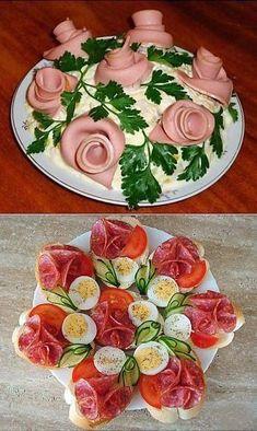 Meat Trays, Food Platters, Meat Platter, Best Appetizers, Appetizer Recipes, Comida Diy, Creative Food Art, Food Garnishes, Garnishing