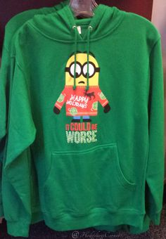 Despicable Me Minions Green Holiday Sweatshirt Hoodie It Could Be Worse NEW- Select Size #hedgehogscorner