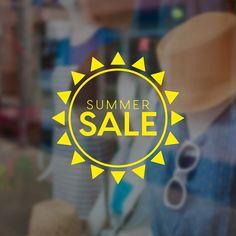 Summer Sale Sun Promotional Window Sign - Removable Vinyl Decal - Seasonal Shop Window Sticker - Summer Window Cling - Retail Display