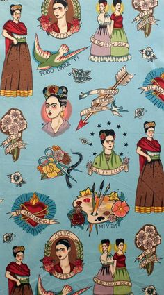 """""""Todo Para Ti"""" in the tea colourway. An ode to Frida Kahlo as cameos of the iconic Mexican artist are printed alongside paint palettes, mexican hearts, birds and florals, on a Turquoise background. Mexican Artists, Mexican Folk Art, Frida Kahlo Tattoos, Illustrations, Illustration Art, Kahlo Paintings, Frida Art, Diego Rivera, Trendy Wallpaper"""